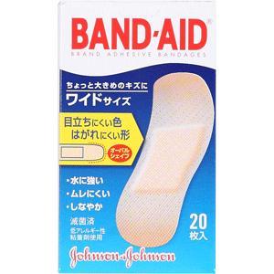 バンドエイド救急絆創膏 肌色タイプワイドサイズ:20枚入