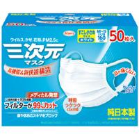 三次元マスク すこし小さめサイズM~S ホワイト:50枚入